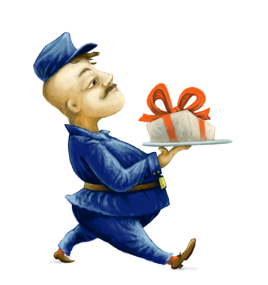 Postman with gift